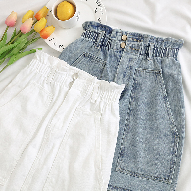 Elastic Waist Summer Women Denim Skirt Pockets Sexy White High waist jeans Skirts A-line Casual Ruffles Female mini saia mujer 9