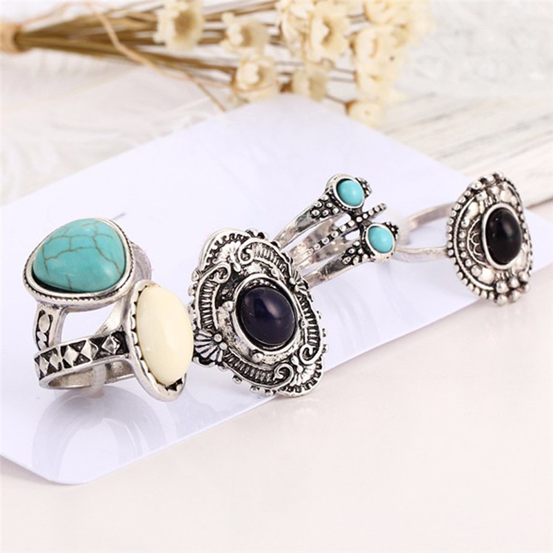 5pcsSet Women Bohemian Vintage Silver Stack Rings Above Knuckle Blue Rings for women midi Finger Knuckle rings Ring Set J13#N (1)