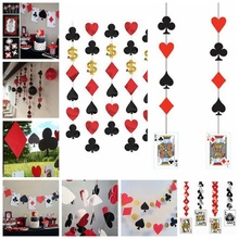 Casino Party Hanging Honeycombs Pendant Las Vegas Themed Party Night Card Dangling Cutouts Playing Card Suite Symbols Backdrop