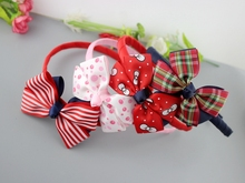 20pcs Hot sale queen girls ribbon cartoon hairbands Dots bows Strawberry printing bownots with hair band Scotland bow