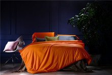 IvarRose 100% Cotton Tribute Silk Bedding Set Solid Orange Bule Color Duvet Cover Set King Queen Size Hotel Bedding set sheet