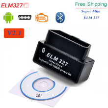 Wholesales Super Bluetooth MINI ELM327 Auto Diagnostic Too New ELM 327 V2.1 OBD2 OBDII Black Car Code Scanner Tool FREE SHIPPING(China)