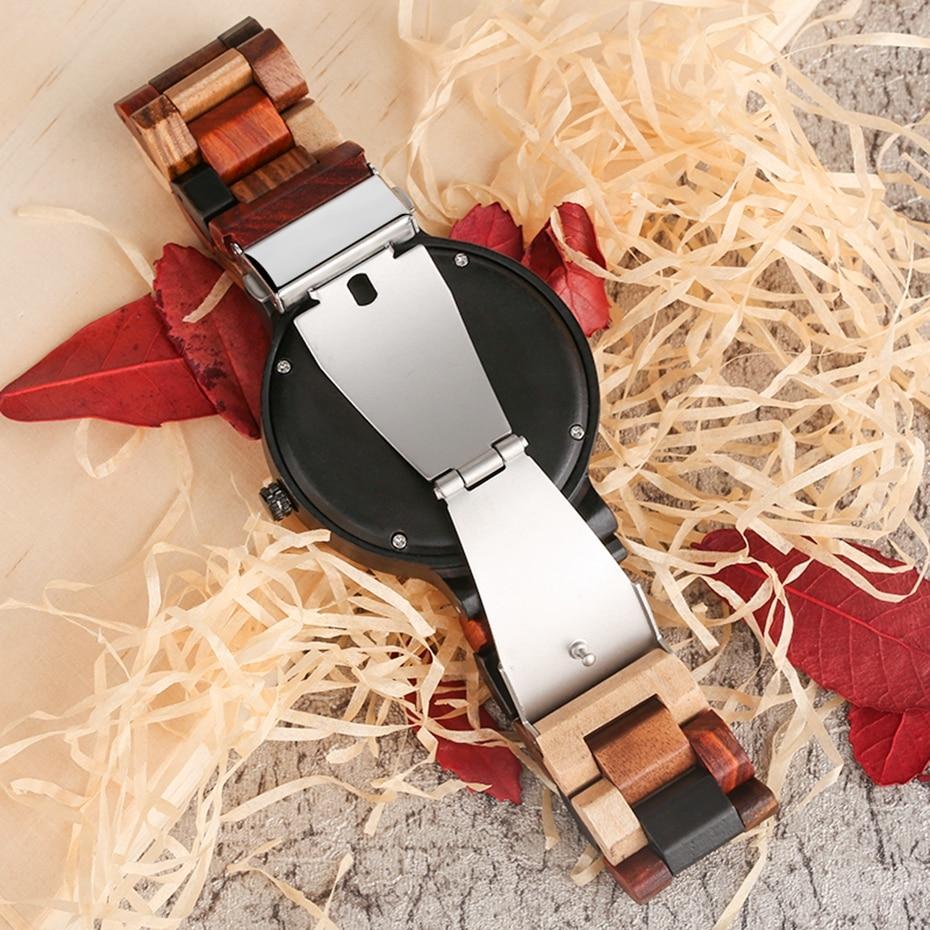 Unique Mixed Color Wood Watch Men Creative Deer Head Elk Clock Man Retro Full Wooden Wrist Quartz Watch Top Luxury Men\`s Watches 2018 2019 (12)