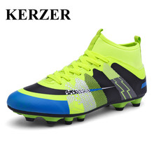 Hot 2017 New Arrival High Ankle HG Soccer Shoes Men Lace Up Football Sock Boots Rubber Training Tops Soccer Good Quality