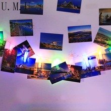 Home Decor DIY Wall Paper Photo Frame Photo Hanging Clip String LED Lights 6 Colors R5(China)