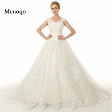 Gorgeous Ball gown Lace up back Applique Lace Long train Vestido de noiva High Quality Real Photo Bridal Wedding dresses 2017