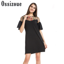 Buy Ossizoue Casual Dress Black Women Flare Sleeve Embroidery Mesh Patchwork Hollow Summer Loose Party Sexy Dresses Vestidos for $17.73 in AliExpress store