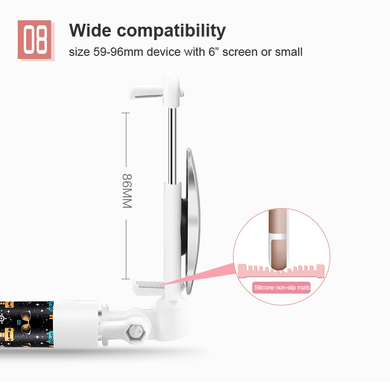 Painting Selfie Stick For Samsung iPhone Lopez Universal Cartoon Selfie Stick Monopod Phone Wired control Extendable Self-timer