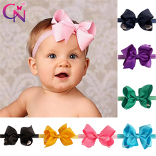 24 Pcs/lot Fashion Handmade Solid Bows Headbands For Kids Girls Boutique Hair Bows Elastic Hairbands Hair Accessories Headwear(China)