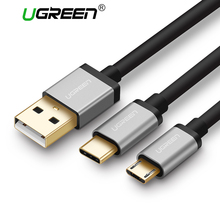Ugreen 2 in 1 Micro USB Cable + Type C Cable 2.4A Fast Charging USB Cable for Samsung Galaxy Android USB C Cable for Xiaomi 5