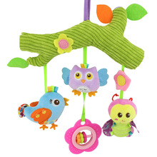 Baby Toys owl bird Cute Cartoon Animal stuff Plush Doll Early Educational rattles bed hanging Stroller Hanging gift(China)