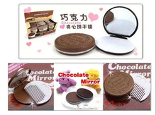 Free shipping,chocolate biscuits mirror Mini Cute Cocoa Chocolate Mirror & Comb New ,Lady mirrow set.lady gift