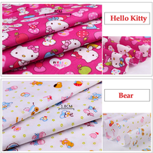 50cm*160cm/piece 100% Cotton Bear/ Hello Kitty Printed Fabric for Baby Bedding Textile Patchwork Quilt Sewing Fabric Material