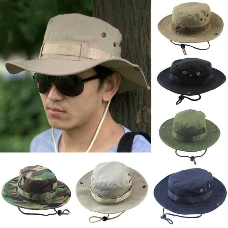 9c0f3bdccaf 2018 Military Panama Safari Boonie Sun Hats Cap Summer Men Women Camouflage Bucket  Hat With String