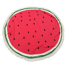 Watermelon 150cm Round Beach Towel With Tassels Polyester Fruit Printed Pattern Large Circle Microfiber Outdoor Home Textile