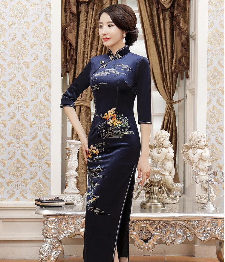 New Arrival Women's Velour Long Cheongsam Fashion Chinese Style Dress Elegant Qipao Vestido Size S M L XL XXL XXXL 4XL T0043