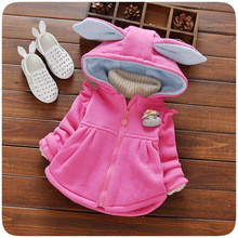Autumn Winter Baby Girls Clothes Infants Rabbit Ear Hooded Cotton Jacket Princess Girls Coats Outerwear Casaco(China)