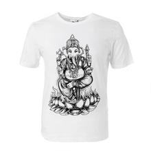 Buddha The elephant god logo printing soft modal cotton t shirt slim style brand new