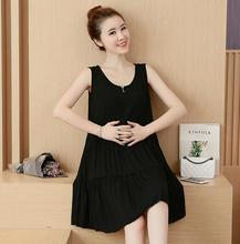 2016 new fashion maternity dress modal black sleeveless vest skirt loose big yards summer