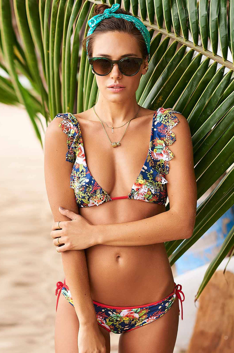 Women 2017 Brazilian Bikini set Bathing Suit Lady Summer Sexy Off Shulder V-neck Floral Lotus Leaf Biquini Swimsuit Beachwear<br>