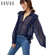 HYH HAOYIHUI Turn-down Collar Ruffles Patchwork Navy Blue Women Blouse Transparent Lantern Sleeve Shirt Plaid Button Tops Blusas(China)