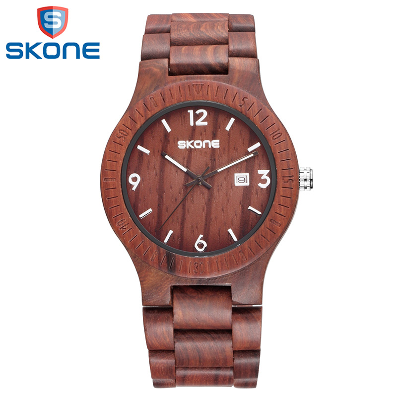 SKONE Fashion Casual Wristwatches for Man Male Unique Wooden Watches Male Quartz Clock Watch Relojes Hombre<br>