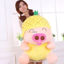 Fancytrader 2014 Top Sale 31'' / 80cm Plush Cute Giant Fruit Mcdull Pig Toy, 3 Fruits Color Available! Free Shipping FT50081(China)