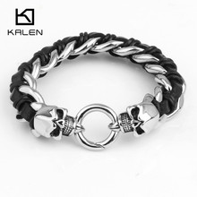 Kalen Jewelry Punk Men's High Quality 316L Stainless Steel Skull Charm Bracelet Fashion Leather Bracelet From China Manufacturer(China)