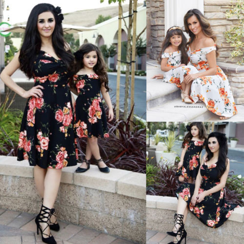 Family Matching Clothes Women Girls Mother and Daughter Floral Dresses Outfits