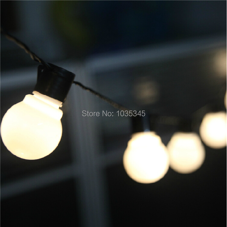 Novelty Outdoor lighting 5cm big size LED Ball string lamps Black wire Christmas Lights fairy wedding garden pendant garland<br><br>Aliexpress