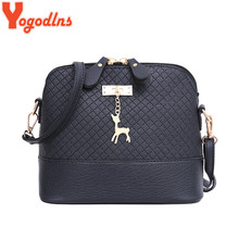Yogodlns New female bag quality pu leather soft face women bag wild shoulder messenger bag Quilted shell bag pendant cute deer(China)