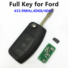 for FORD Mondeo Focus Fiesta C Max S Max Galaxy 3 Buttons 433MHz with 4D60/4D63 Chip Keyless Entry Fob Car Remote Key