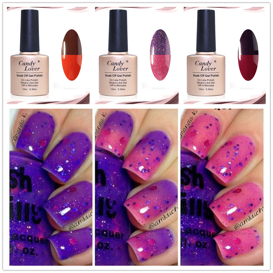 Candy Lover 10ml Thermo Soak Off Varnish Gel Chameleon Mood Color Changing Nail Polish Lacquer
