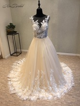 Buy vestido de novia New Arrival Long Wedding Dress 2018 Scoop Neck Sleeveless A-Line Appliques Tulle Bridal Gowns Court Train for $267.46 in AliExpress store