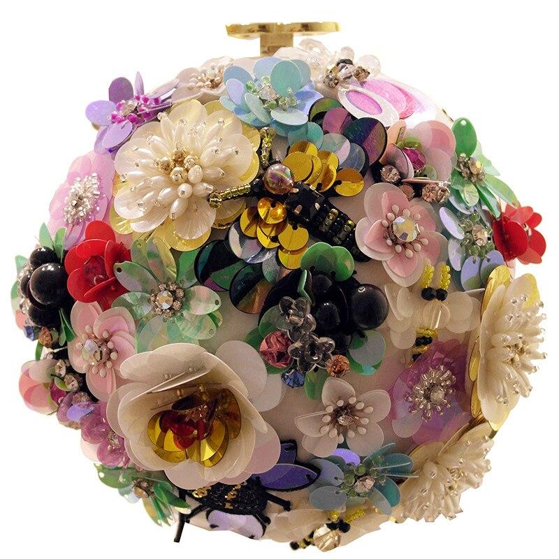 Hot Sellers Woman Evening bag flower Gold Glittered Nightclub Clutch bag Wallet Wedding Handbag Party Banquet girls shoulder bag<br>