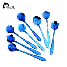 FHEAL 8pcs/set Stainless Steel Blue Flower Shape Tea Coffee Spoon Ice Cream Sugar Flatware Tableware Kitchen Gadget