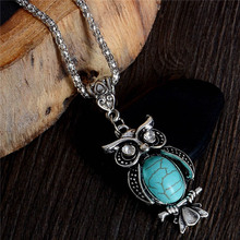 H:HYDE Wholesale Lady's Vintage Necklace Trendy Cute Owl Necklace Natural stone Jewelry For Gifts Long Pendant(China)