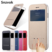 Snzvok Newest Luxury View Window Flip Phone Cover Case For iPhone 7 7 Plus Sliding Answer PU Leather With Soft TPU Phone Cases