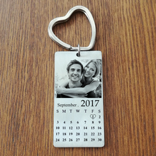 Stainless Steel Custom Photo Calendar KeyChain Engravable ID Dog Tag Charm Pendant Key Chain Dropshipping(China)