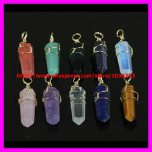 10pcs( Gold wire) Moonstone/ Crystal / Rose Quartz/Purple Quartz Point Gems Stone gold Wire Wrapped Plated Druzy Stone Pendant