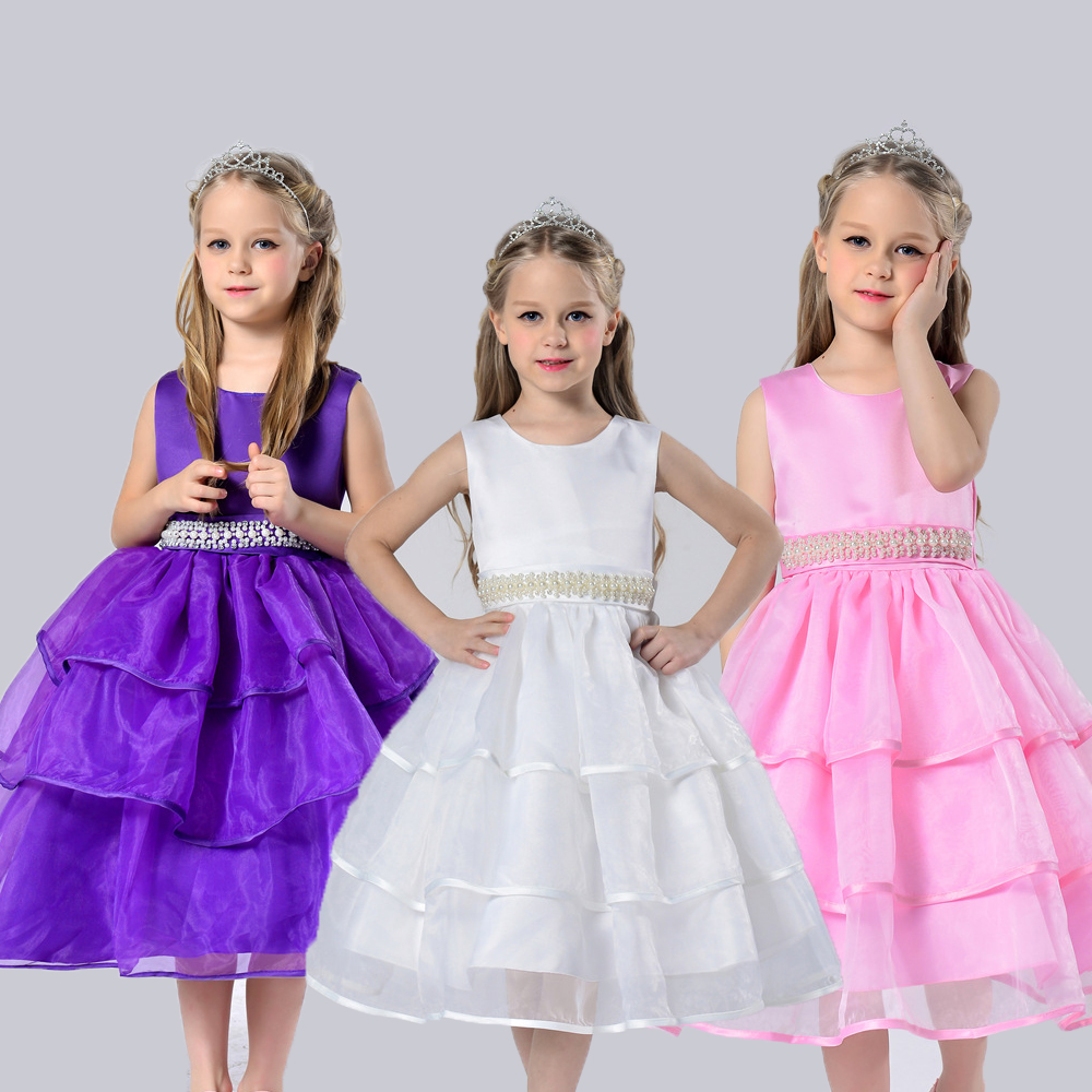 Cotton Lining 2- 12 Y Girl Party Dress High QualityTeenager Tulle Flower Dresses Handmade Beaded kids evening Gown With Bustle <br><br>Aliexpress