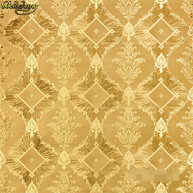 beibehang papel de parede 3D KTV hotel European gold foil Damascus Wallpaper for Bedroom Living Room wall paper roll home decor<br>