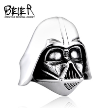 Star Wars Darth Vader Mask Shape Ring Jewelry High Quality 316L STAINLESS Steel Movie Jewerly BR8-202 US Size(China)