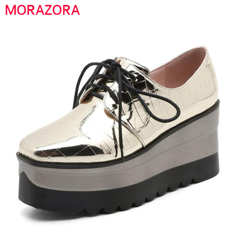MORAZORA 2017 New high heel platform shoes women square toe oxford shoes  fashion lace-up soft leather 2 colors<br>