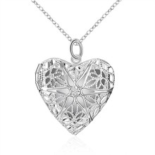 2017 New 925 stamped Silver Plated Jewelry Heart Photo in Locket Necklace Pendant Valentine's Day Gift For Women Girl
