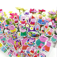 6pcs/lot 21cm Mixed Cartoon Pink Pig Stickers Friendship Action Figure Model Assembles Toy TZ-010