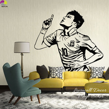 Neymar Da Silva Barcelona Brazil Football Player Wall Sticker Bedroom Boys Room Soccer Athlete Wall Decal Vinyl Art Decor