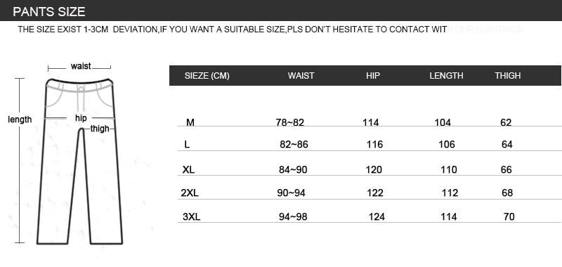 SKI SUIT MENpants size chart