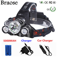 8000 Lumens CREE XM-L T6 LED Headlamp Headlight Caming Hunting Head Light Lamp 4 Modes+18650 Battery + AC/Car Charger+Battery