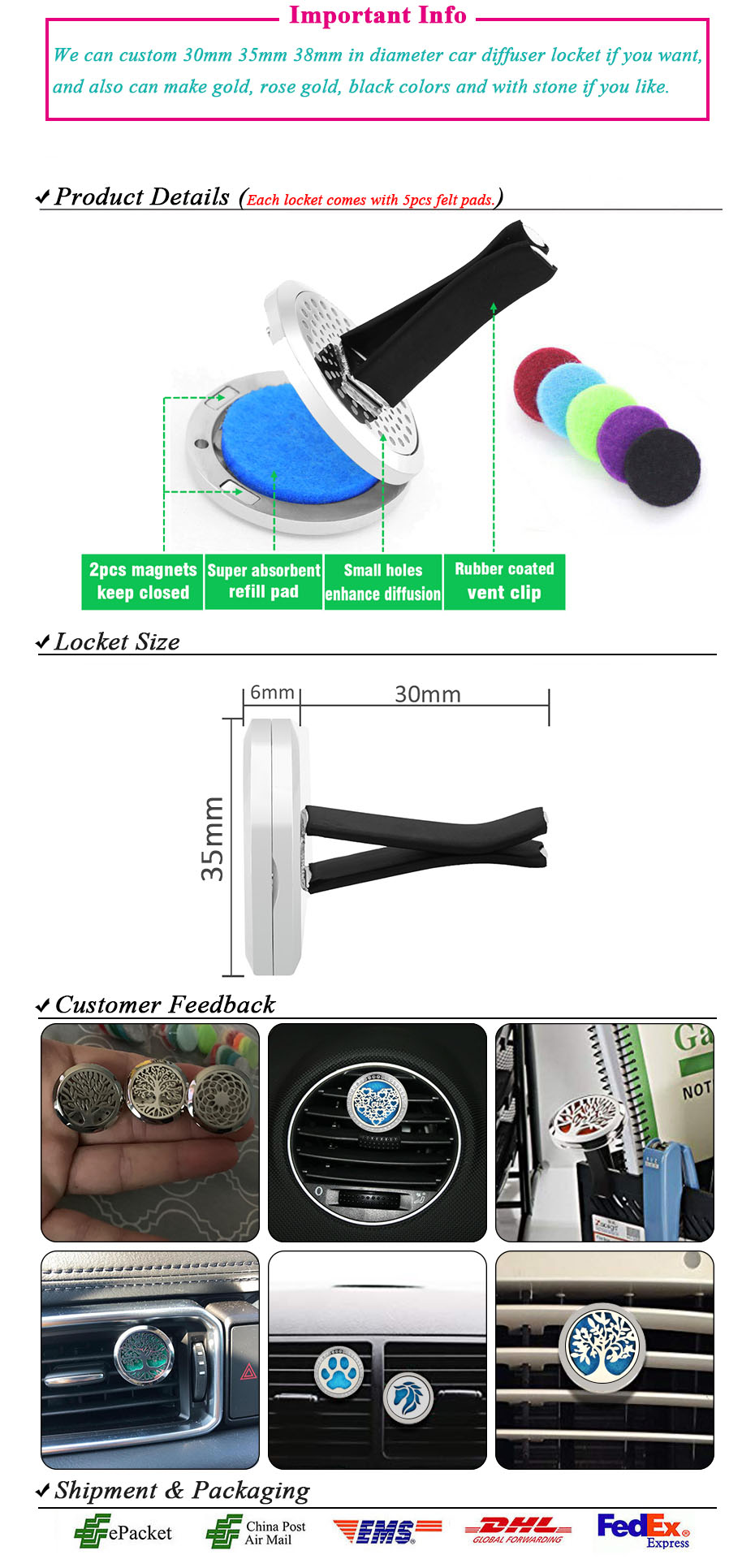 Car Air Freshener Auto outlet Perfume Vent Air freshener in the Car Air Conditioning Clip Magnet Diffuser Solid Perfume- (7)